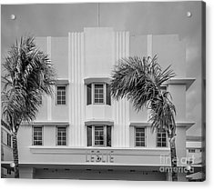 Leslie Hotel South Beach Miami Art Deco Detail 3 - Black And White Acrylic Print by Ian Monk
