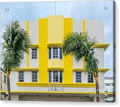Leslie Hotel South Beach Miami Art Deco Detail 3 Acrylic Print by Ian Monk