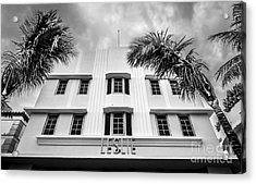 Leslie Hotel South Beach Miami Art Deco Detail - Black And White Acrylic Print by Ian Monk