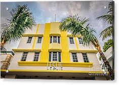Leslie Hotel South Beach Miami Art Deco Detail - Hdr Style Acrylic Print by Ian Monk