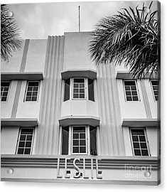 Leslie Hotel South Beach Miami Art Deco Detail - Square - Black And White Acrylic Print by Ian Monk