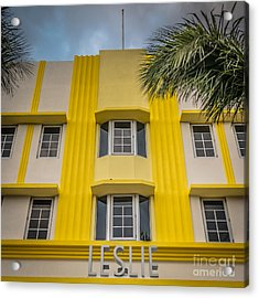 Leslie Hotel South Beach Miami Art Deco Detail - Square - Hdr St Acrylic Print by Ian Monk