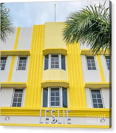 Leslie Hotel South Beach Miami Art Deco Detail - Square Acrylic Print by Ian Monk