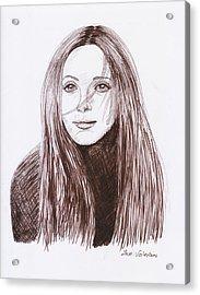 Leslie Mann Acrylic Print by M Valeriano