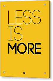 Less Is More Poster Yellow Acrylic Print by Naxart Studio