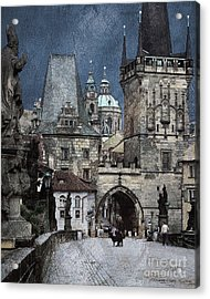 Lesser Town Bridge Towers Acrylic Print by Pedro L Gili