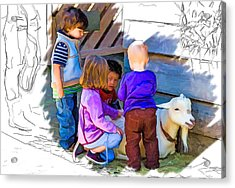 Lessons In Petting A Goat Acrylic Print by John Haldane