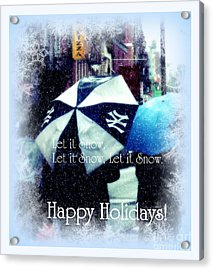 Let It Snow - Happy Holidays - Ny Yankees Holiday Cards Acrylic Print