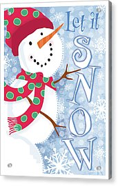 Let It Snow Acrylic Print by Velvet Lime Girls