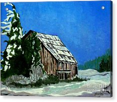 Acrylic Print featuring the painting L'etable  The Barn by Joyce Gebauer