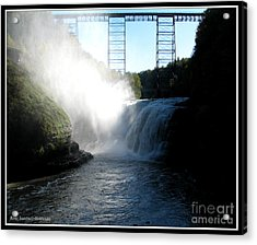 Letchworth State Park Upper Falls And Railroad Trestle Acrylic Print by Rose Santuci-Sofranko
