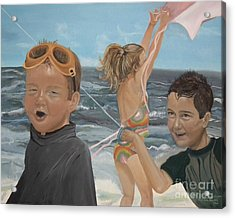 Acrylic Print featuring the painting Beach - Children Playing - Kite by Jan Dappen
