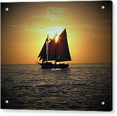 Sailing At Sunset Acrylic Print by Gary Smith
