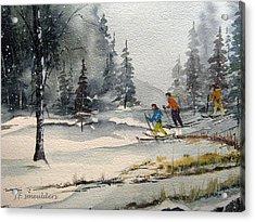 Let's Ski Acrylic Print by John Smeulders
