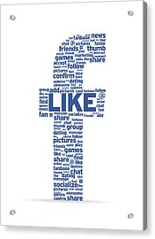 Letter F With Social Words Acrylic Print by Aged Pixel