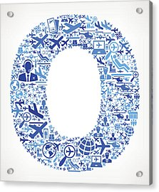 Letter O Aviation And Air Planes Vector Graphic Acrylic Print by Bubaone