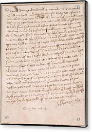 Letter Of Henry Viii Acrylic Print by British Library