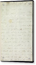 Letter Of Lady Hamilton Acrylic Print by British Library