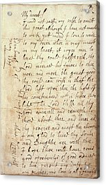 Letter Of Oliver Cromwell Acrylic Print by British Library