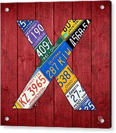 Letter X Alphabet Vintage License Plate Art Acrylic Print by Design Turnpike