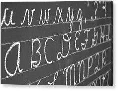 Letters On A Chalkboard Acrylic Print by Chevy Fleet