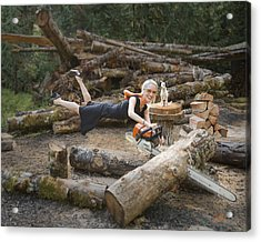 Levitating Housewife - Cutting Firewood Acrylic Print by Lori Grimmett
