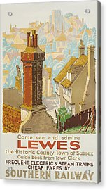 Lewes Poster Advertising Southern Railway Acrylic Print by Gregory Brown