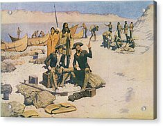 Lewis And Clark At The Mouth Of The Columbia River Acrylic Print by Frederic Remington