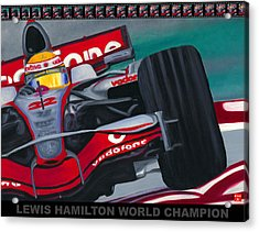 Lewis Hamilton F1 World Champion Pop Acrylic Print