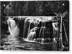 Lewis River Lower Falls Black And White Acrylic Print