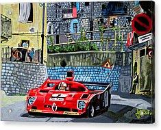 Alfa Romeo 33tt12 Nino Vaccarella.targa Florio 1975 Acrylic Print by Jose Mendez