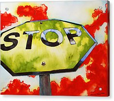 Liberating Stop Sign Acrylic Print by Zuzana Vass