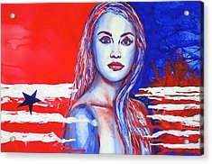 Acrylic Print featuring the painting Liberty American Girl by Anna Ruzsan