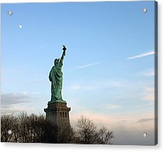 Acrylic Print featuring the photograph Liberty And Moon by Jose Oquendo