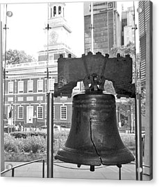 Liberty Bell And Independence Hall Bw Acrylic Print by Barbara McDevitt