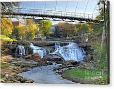 Liberty Bridge And The Falls In Downtown Greenville Sc Acrylic Print