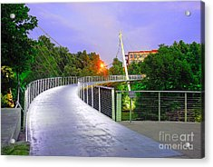 Liberty Bridge In Downtown Greenville Sc At Sunrise Acrylic Print