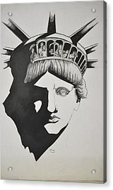 Liberty Head With People Acrylic Print by Glenn Calloway