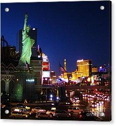 Liberty In Vegas Acrylic Print by John Malone
