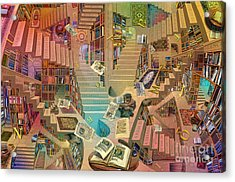 Library Of The Mind Art Acrylic Print by Garry Walton