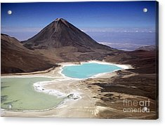 Licancabur Volcano And Laguna Verde Acrylic Print by James Brunker