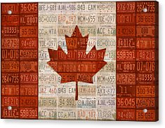 License Plate Art Flag Of Canada Acrylic Print by Design Turnpike