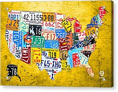 License Plate Art Map Of The United States On Yellow Board Acrylic Print