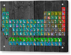 License Plate Art Recycled Periodic Table Of The Elements By Design Turnpike Acrylic Print by Design Turnpike