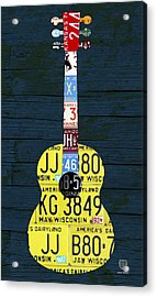License Plate Guitar Edition 2 Vintage Recycled Metal Art On Wood Acrylic Print by Design Turnpike