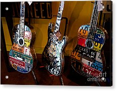 Acrylic Print featuring the photograph License Plate Guitars by Vinnie Oakes