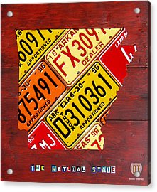 License Plate Map Of Arkansas By Design Turnpike Acrylic Print by Design Turnpike