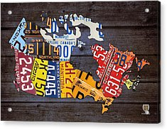License Plate Map Of Canada Acrylic Print