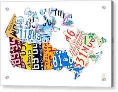 License Plate Map Of Canada On White Acrylic Print by Design Turnpike