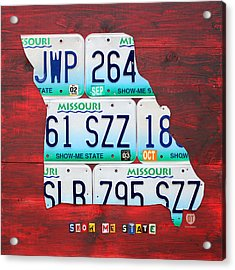 License Plate Map Of Missouri - Show Me State - By Design Turnpike Acrylic Print